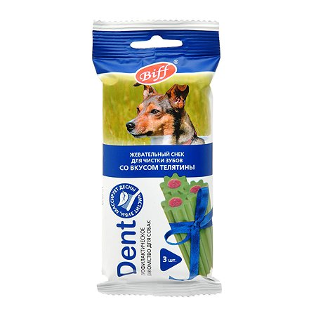 Лакомство для собак BIFF Dent Жевательный снек для средних пород со вкусом телятины 75г