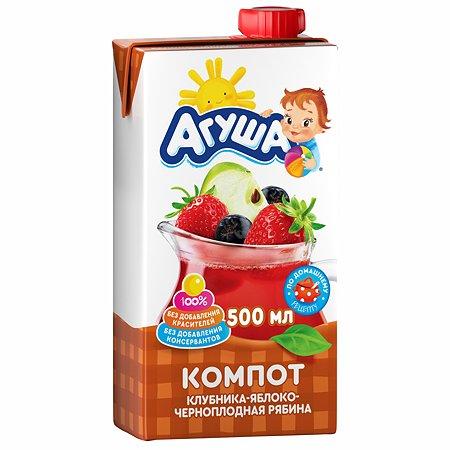 Компот Агуша яблоко-клубника-рябина чернопллдная 0.5л с 3лет