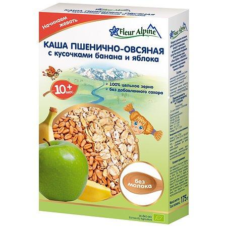 Каша Fleur Alpine безмолочная пшенично-овсяная с кусочками банана и яблок 175г с 10 мес