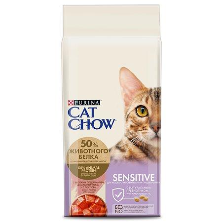 Корм сухой для кошек Cat Chow 15кг с лососем при чувствительной пищеварительной системе