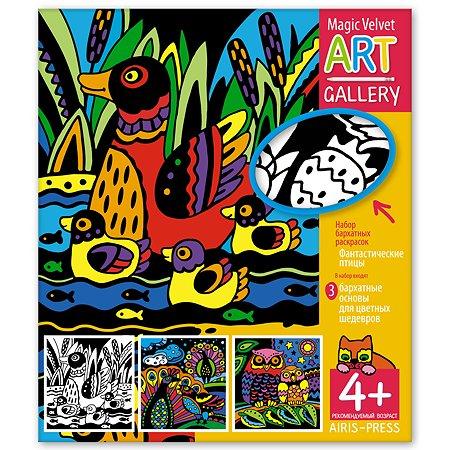 Раскраска Айрис ПРЕСС Набор бархатных раскрасок Фантастические птицы 3 основы