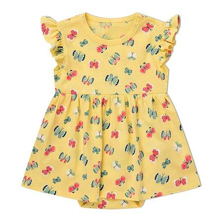 Платье-боди Моя Горошинка жёлтое