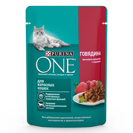 Корм для кошек Purina One взрослая говядина-морковь 75г