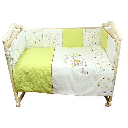 Комплект в кроватку Babyton Птички 4 предмета Зеленый 5914