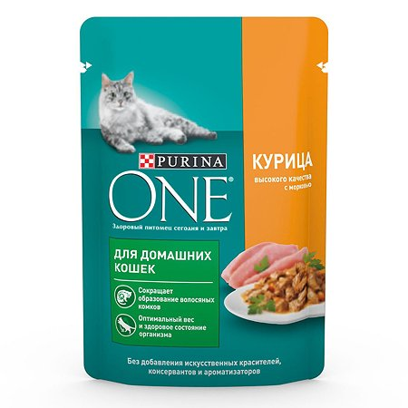 Корм для кошек Purina One домашняя курица-морковь 75г