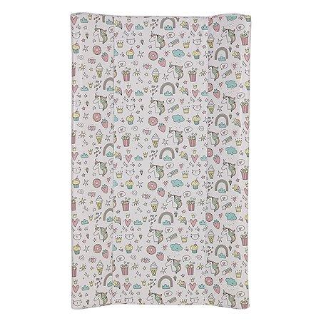 Доска пеленальная Polini kids Единорог-Сладости для детских кроватей Розовый