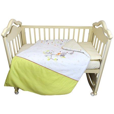 Комплект в кроватку Babyton Птички 3 предмета Зеленый 2114