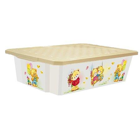 Детский ящик Little Angel для хранения игрушек X-BOX Bears 30л на колесах
