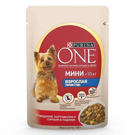 Корм для собак Purina One Mini мелких пород говядина-картофель-горох 85г