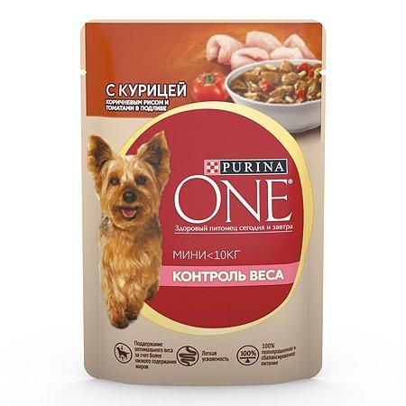 Корм для собак Purina One Mini Контроль Веса курица-рис-томаты 85г