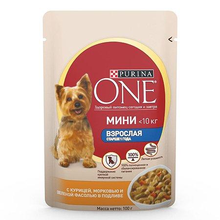 Корм для собак Purina One Mini мелких пород курица-морковь-зеленая фасоль 85г