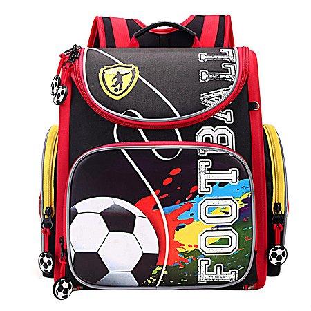 Рюкзак Grizzly Футбол для мальчиков Черно-красный