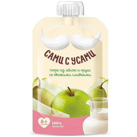 Пюре Сами с усами яблоко-груша-сливки 100г с 6месяцев