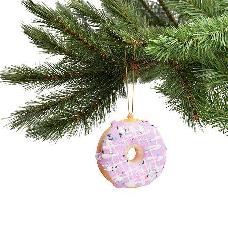 Елочное украшение Kurt S. Adler Пончик с розовым кремом 7см ZGZD2993