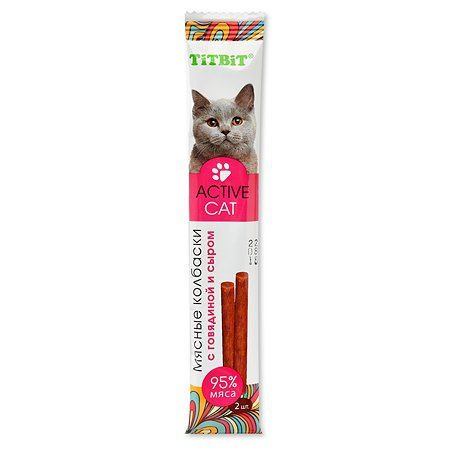 Лакомство для кошек TITBIT ActiveCat Колбаски мясные с говядиной и сыром 15 г