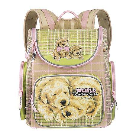 Рюкзак Grizzly Собачки для девочек Бежевый