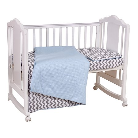 Комплект постельного белья Polini kids Зигзаг 3предмета Серо-голубой