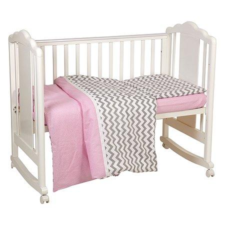 Комплект постельного белья Polini kids Зигзаг 3предмета Серо-розовый