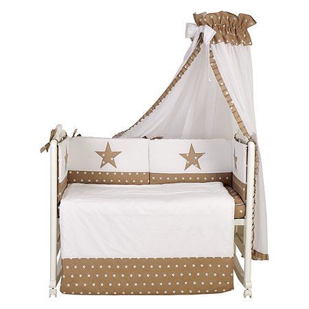 Комплект в кроватку Polini kids Звезды 7предметов Макиато