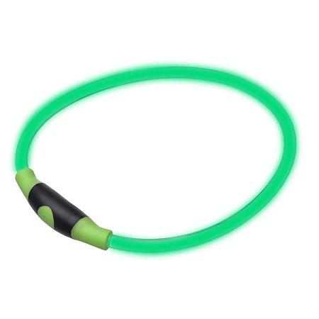Ошейник для собак Грызлик Ам светящийся М Зеленый