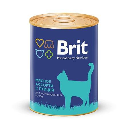 Корм влажный для котов Brit 340г мясное ассорти с птицей консервированный