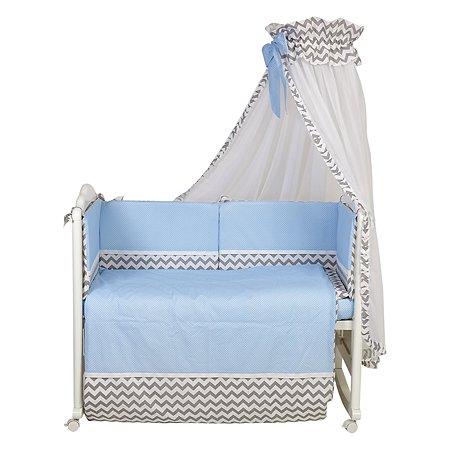 Комплект в кроватку Polini kids Зигзаг 7предметов Серо-голубой