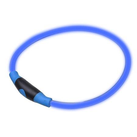 Ошейник для собак Грызлик Ам светящийся S Голубой