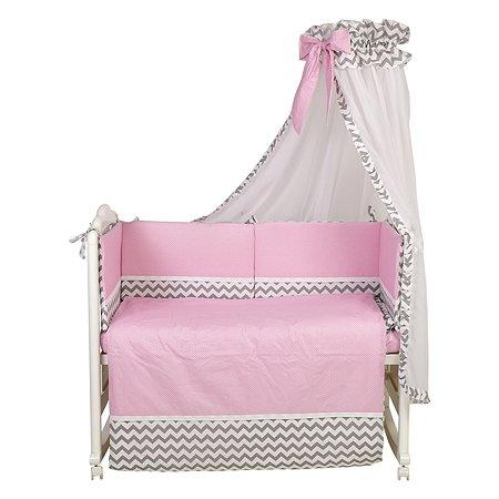 Комплект в кроватку Polini kids Зигзаг 7предметов Серо-розовый
