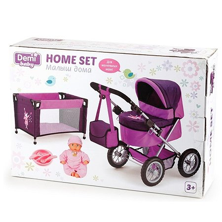 Игровой набор Demi Star Малыш дома (пупс + коляска + манеж) с аксессуарами