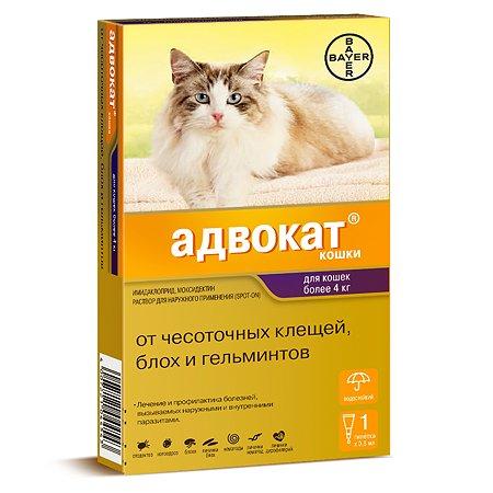 Капли для кошек BAYER Адвокат от 4 до 8кг антипаразитарные 1пипетка