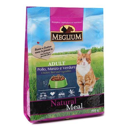 Корм сухой для кошек Meglium Adult 400г говядина-курица-овощи