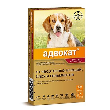 Капли для собак BAYER Адвокат от 10 до 25кг антипаразитарные 1пипетка