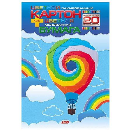 Набор цветного картона и бумаги Hatber Воздушный шар А4 10+10цветов 20л 052990
