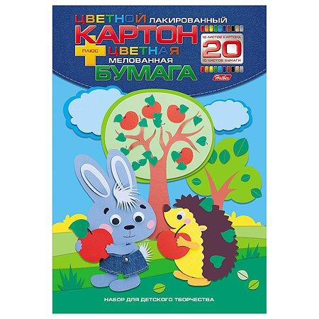 Набор цветного картона и бумаги Hatber Лесные друзья А4 10+10цветов 20л 052989