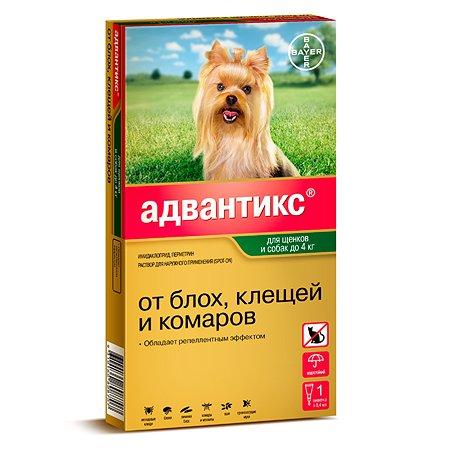 Капли для собак BAYER Адвантикс до 4кг против блох и клещей 1пипетка