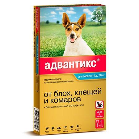 Капли для собак BAYER Адвантикс от 4 до 10кг против блох и клещей 1пипетка