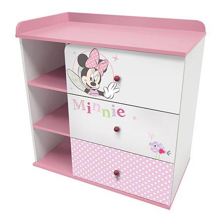 Комод Polini kids Disney baby Минни Маус Фея с 3ящиками Белый-Розовый