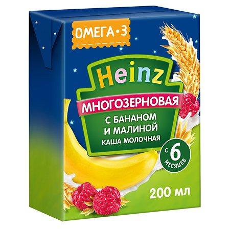 Кашка молочная Heinz с Омега 3 мультизерновая банан-малина 200мл с 6месяцев