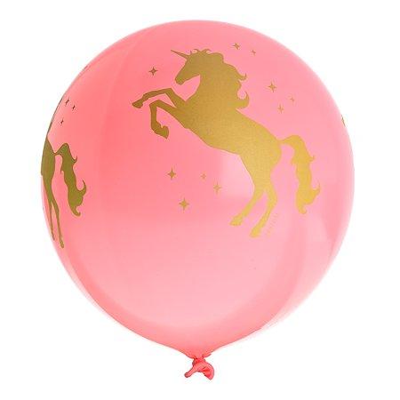 Набор шаров Веселая затея Шелкографография Пастель 14 Единорог 36см 5шт 1111-0924