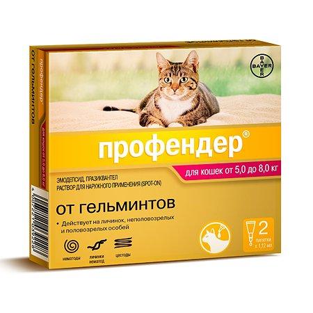 Капли для кошек BAYER Профендер от 5 до 8кг антигельминтик 2пипетки