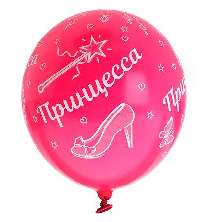 Набор шаров Веселая затея Шелкографография Пастель 14 Принцесса 36см 5шт 1111-0926