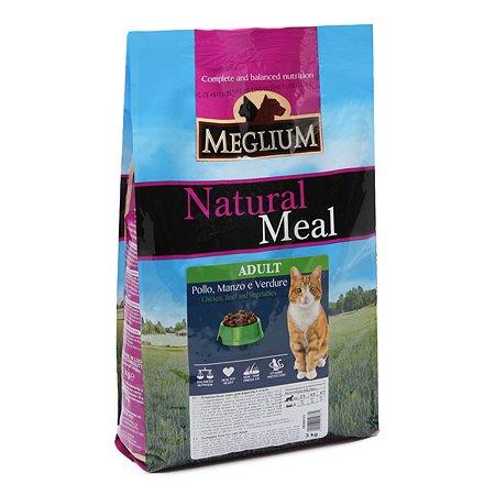 Корм сухой для кошек Meglium Adult 3кг говядина-курица-овощи