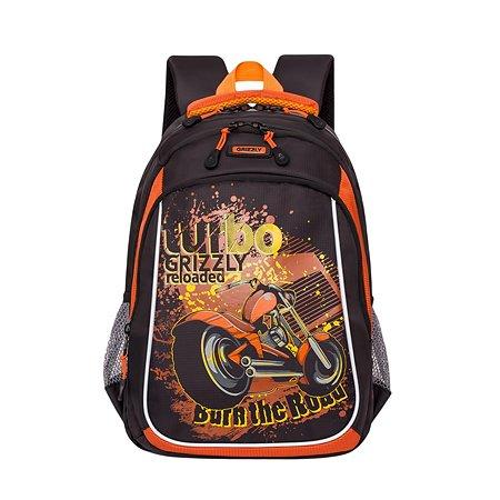 Рюкзак Grizzly Турбо для мальчиков Черно-оранжевый