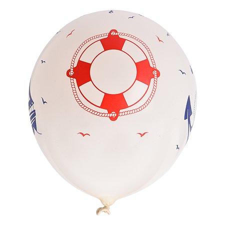 Набор шаров Веселая затея Шелкографография Пастель 14 Морская 36см 5шт 1111-0946