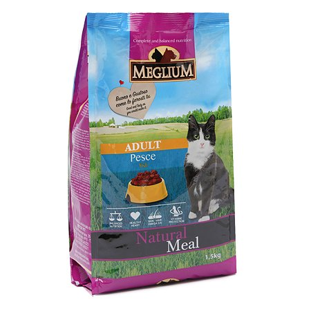 Корм сухой для кошек Meglium Adult 1.5кг рыба