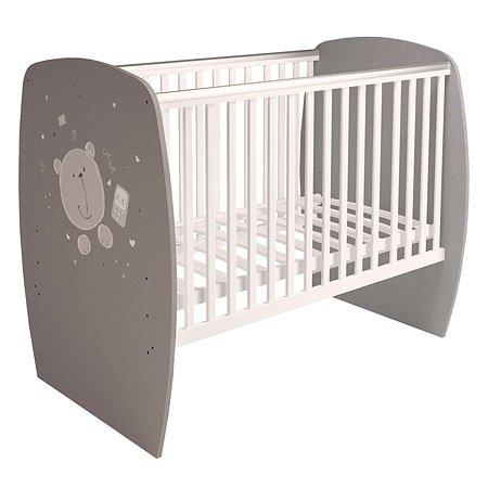 Кроватка детская Polini kids French 700 Teddy Белый-Серый