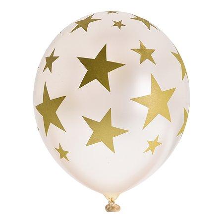 Набор шаров Веселая затея Шелкографография 14 Звезды золото 070 36см 5шт 1111-0947