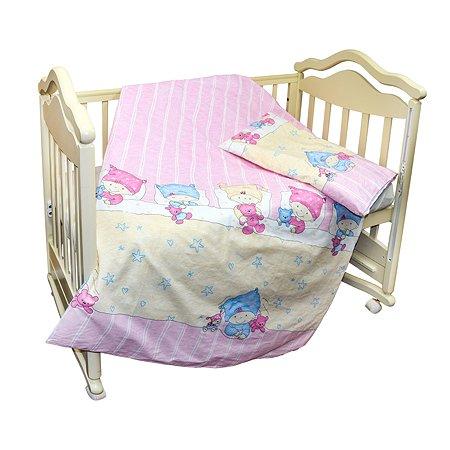 Комплект постельного белья L'Abeille Детки 2предмета Розовый 2901