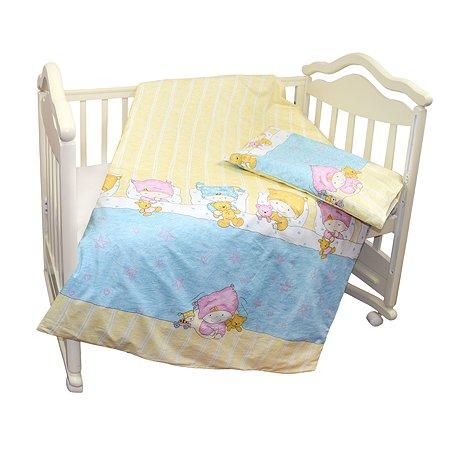 Комплект постельного белья L'Abeille Детки 2предмета Голубой 2902