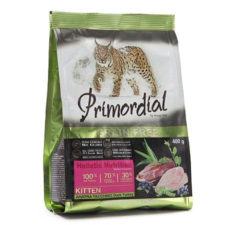 Корм сухой для котят Primordial 400г беззерновой утка-индейка